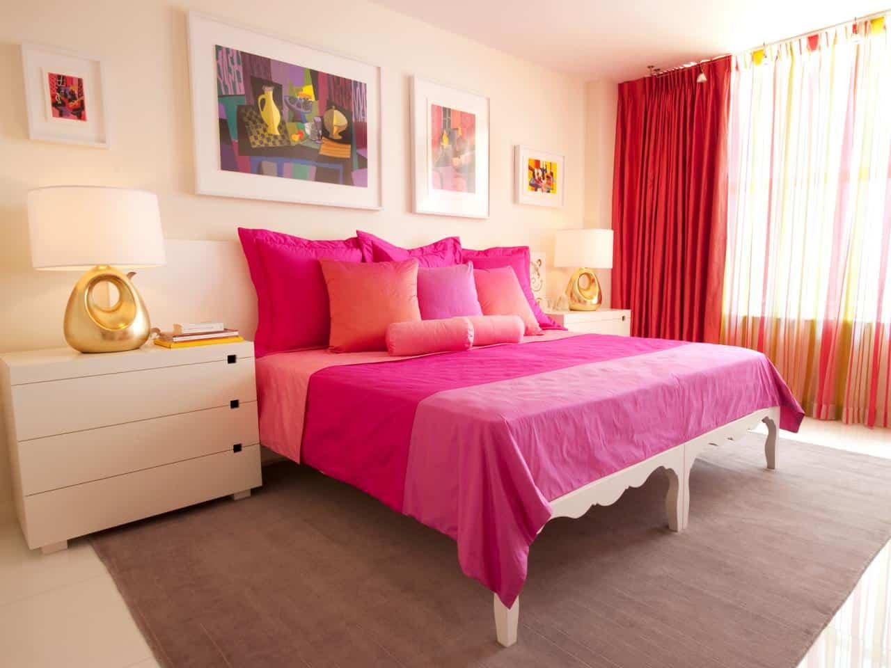 orange, hot pink and cream room