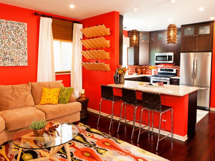 View In Gallery Orange Red And Beige Room