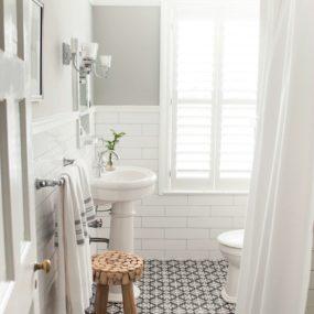 white bathroom shutters 285x285 Fresh Summer Looks on Modern Shutters