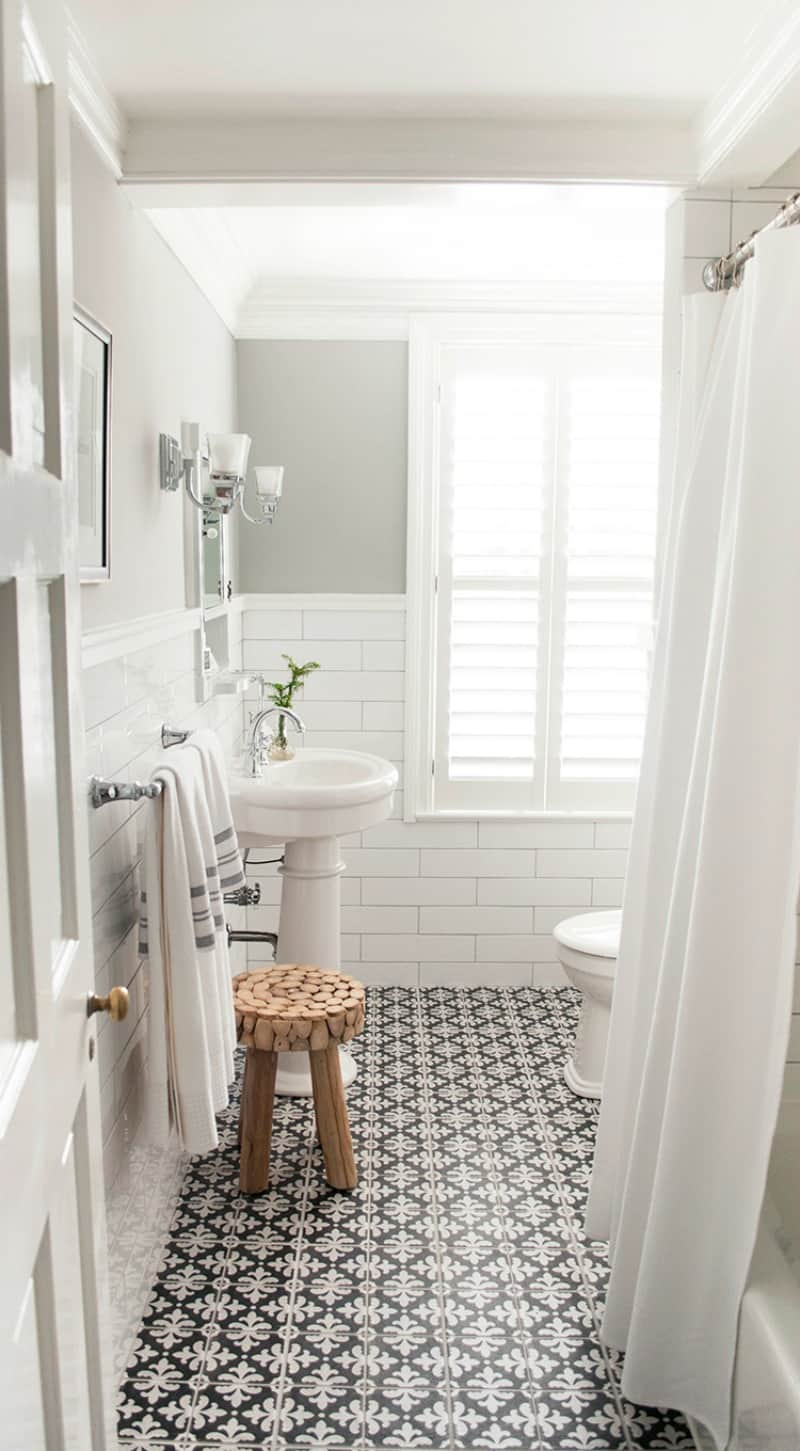 white bathroom shutters