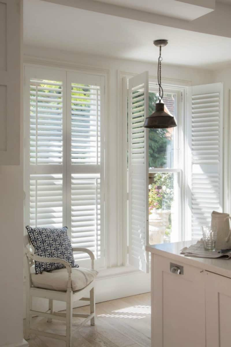 white kitchen door shutters