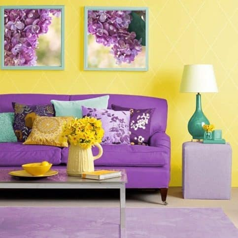 yellow and purple living room