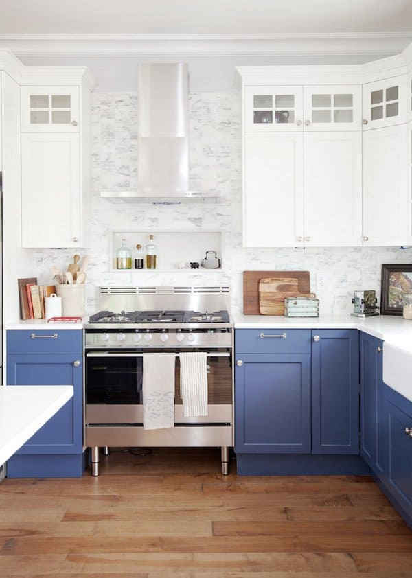 35 Two-Tone Kitchen Cabinets To Reinspire Your Favorite Spot In The on blue white yellow kitchen, blue kitchen hutches, blue country kitchens, blue green gray kitchen, blue kitchen countertops, blue kitchen colors, blue kitchen tile, blue kitchen bench, blue kitchen ceilings, blue and green kitchen, blue kitchen island, blue italian kitchen, blue kitchen wallpaper, blue kitchen remodel, blue kitchen walls, blue kitchen pulls, blue and white kitchen ideas, blue floor cabinets, blue pantry cabinet, blue kitchen room ideas,