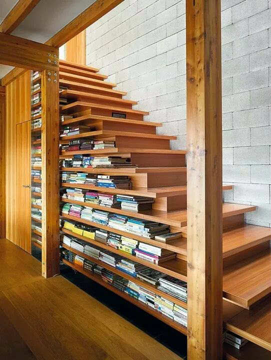 Book stacked staircase