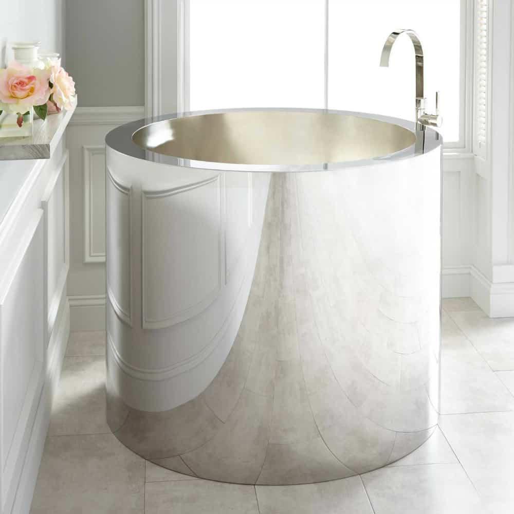 43 Simone Polished Stainless Steel soaking tub