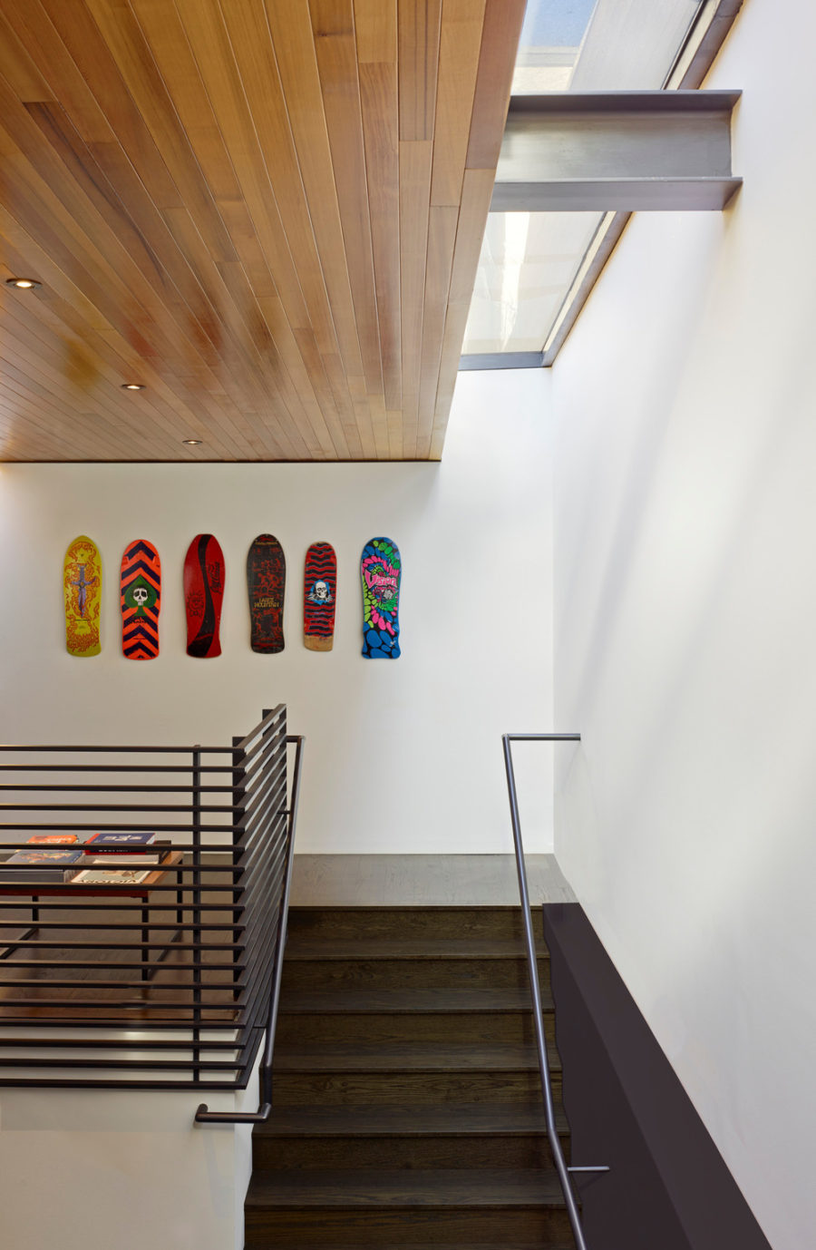 A great way to repurpose old skateboards is to turn them into colorful wall art