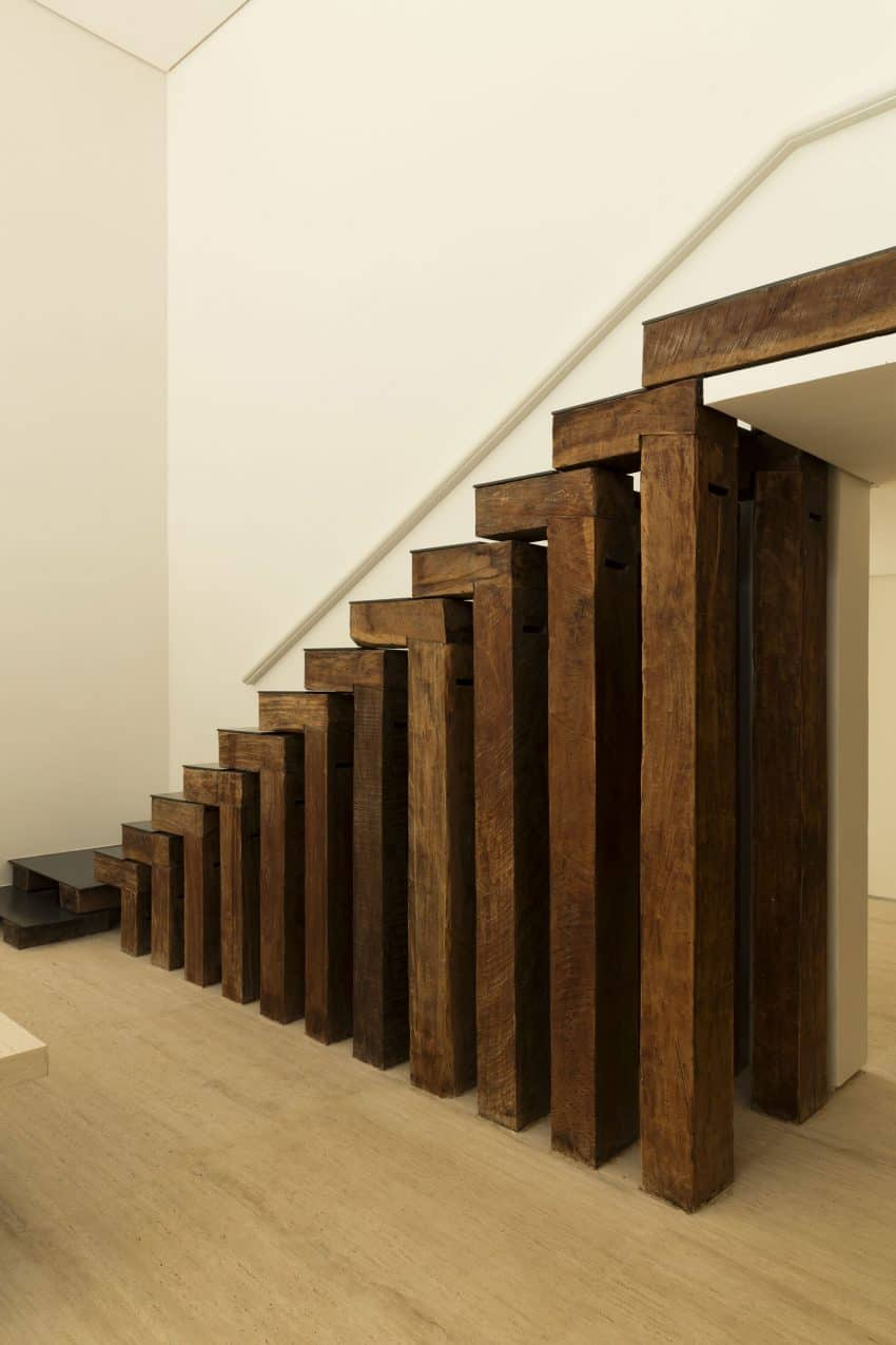 Artistic open wooden staircase
