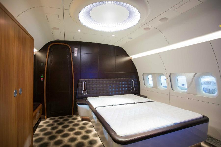 BBJ private jet bedroom