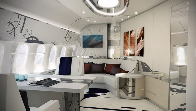 luxury living best private jet interior designs. Black Bedroom Furniture Sets. Home Design Ideas