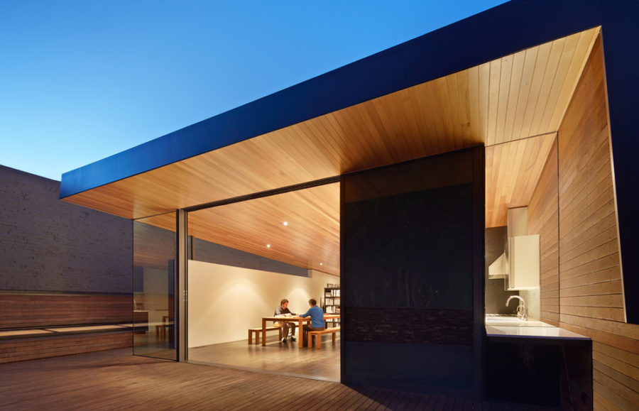 Both floors and ceilings and actually a part of the kitchen wall are covered in wood
