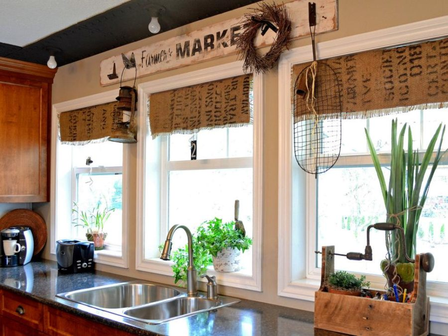 Coffee sack burlap curtains