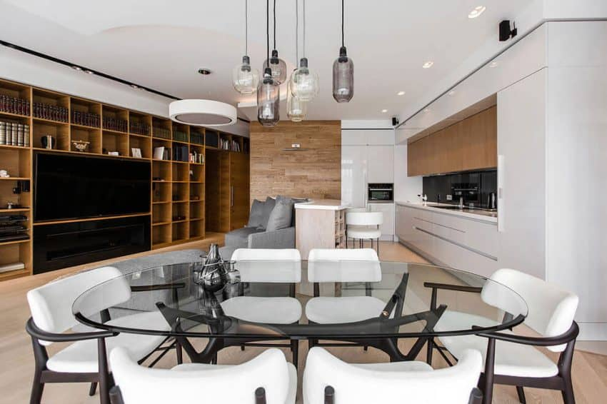 Dining table, kitchen, and entertainment space