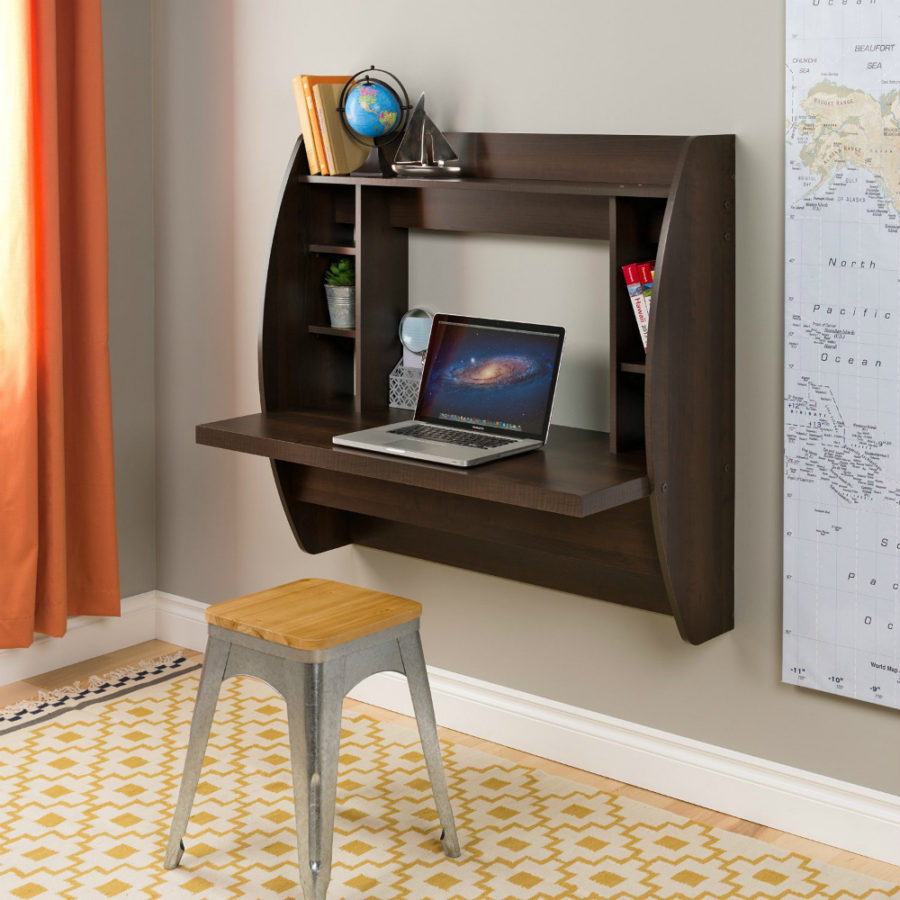 Espresso Floating Desk with Storage by Prepac