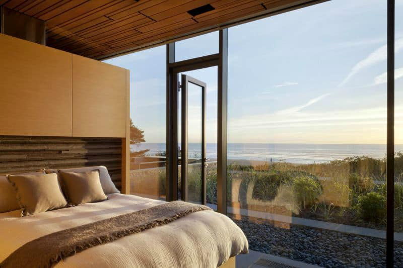 Glazed doors provide access outdoors in case sleep doesn't come