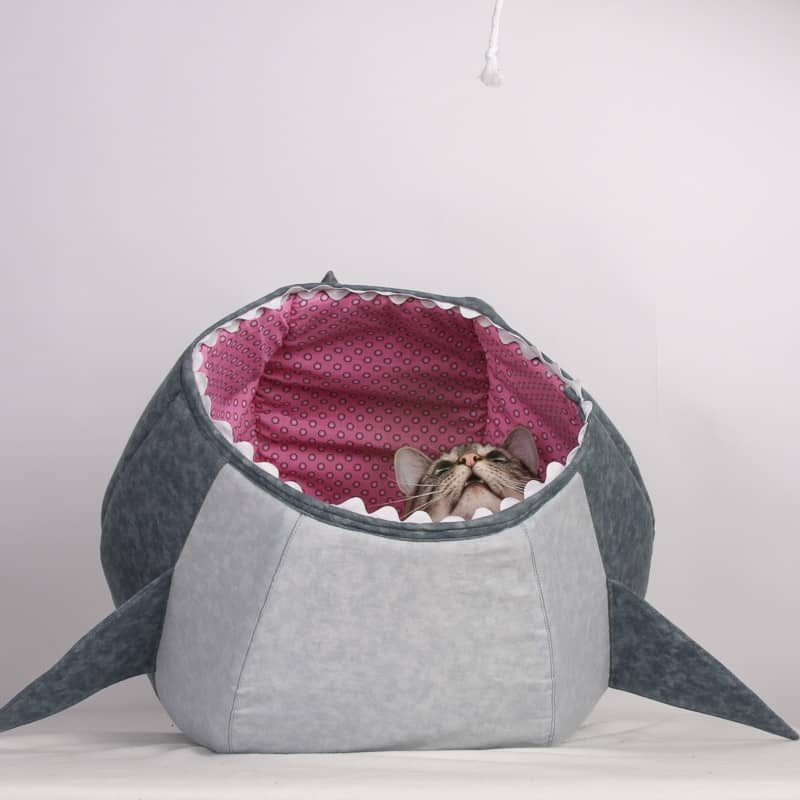 Great white shark cat ball kitty cave bed by The Cat Ball, LLC