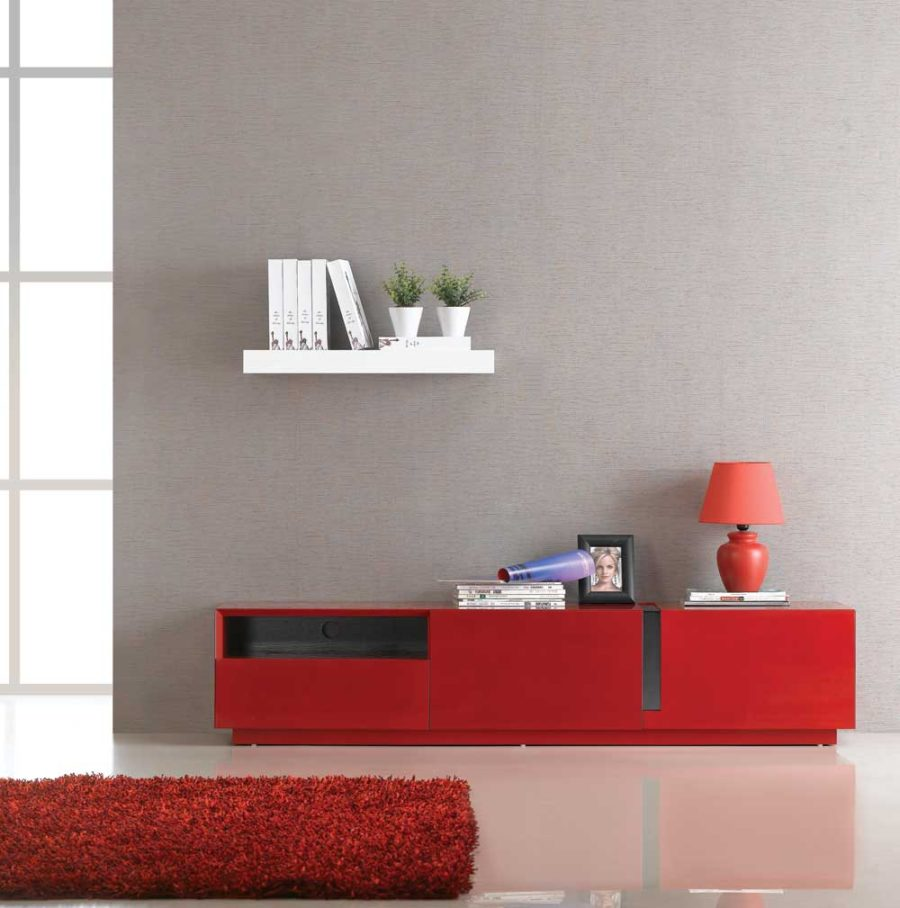 J M Furniture TV027 Red High Gloss TV Stand 44 Modern Designs for Ultimate Home Entertainment