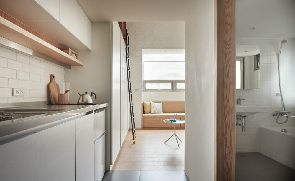 Kitchen and bathroom were built under the loft bedroom