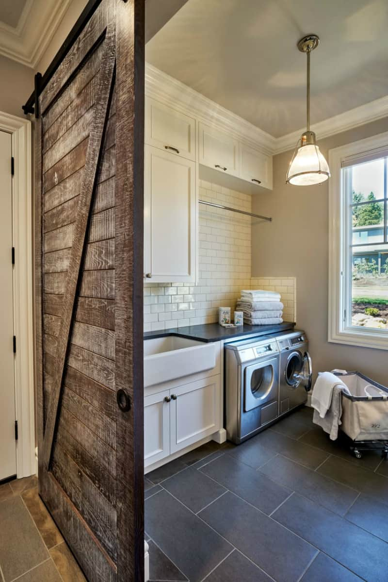 Bring some country spirit to your home with interior barn - Laundry room wall ideas ...