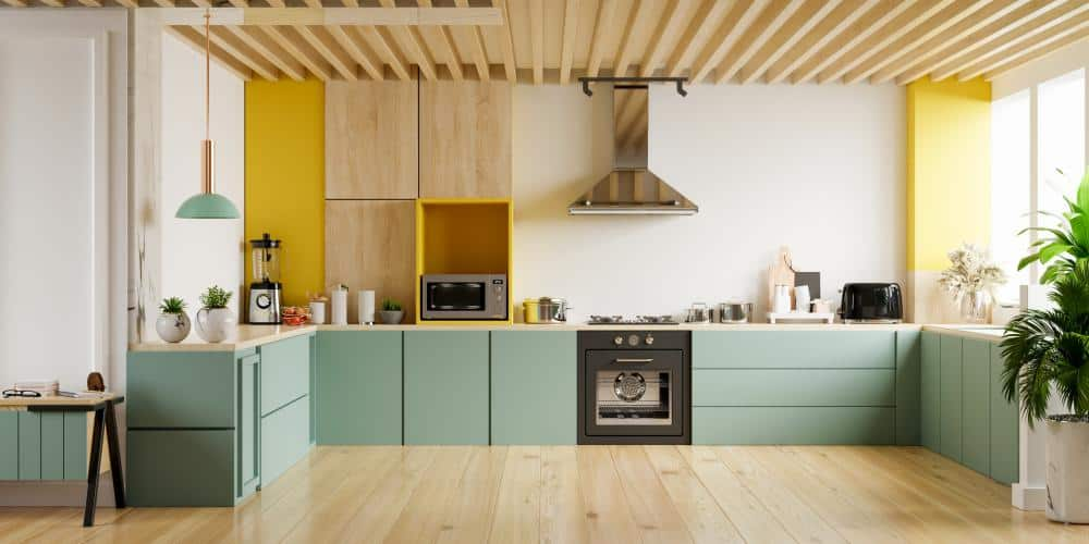 Light Wood and Green Kitchen Cabinets