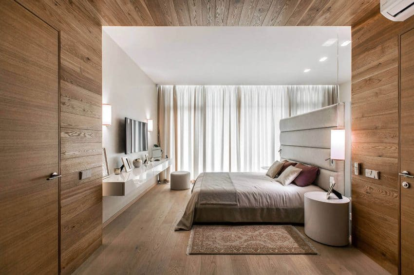 Master bedroom with wooden detailing