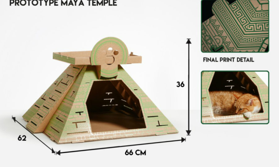 Maya Temple cat bed by Poopy Cat