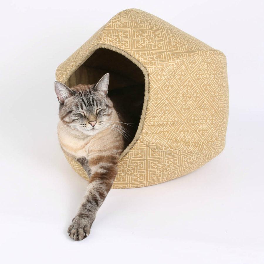 Modern Cat Bed in Neutral Ecru Celtic Knot by Cat Ball LLC.