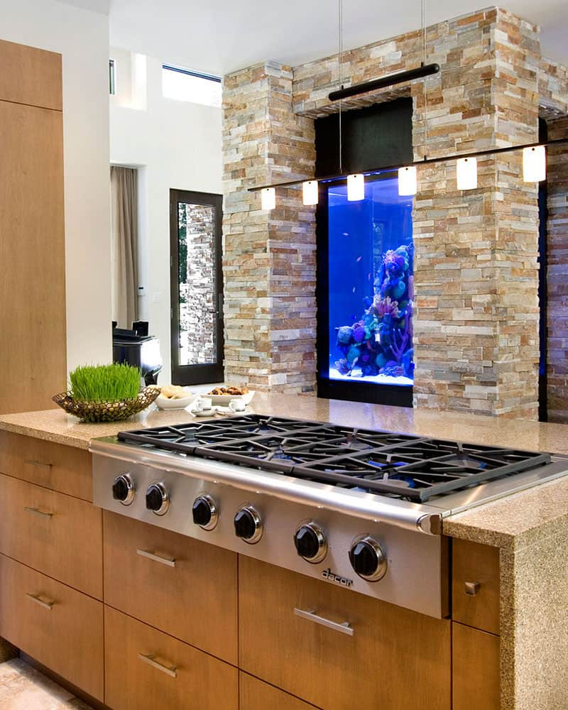 21 Impressive Cool Kitchen Island Design Ideas: Amazing Built-In Aquariums In Interior Design
