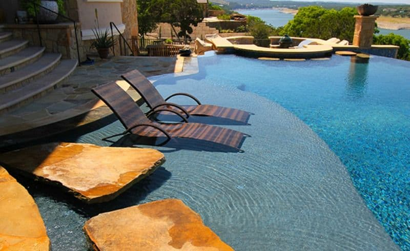 Beau View In Gallery Pool Lounge Chairs In Water
