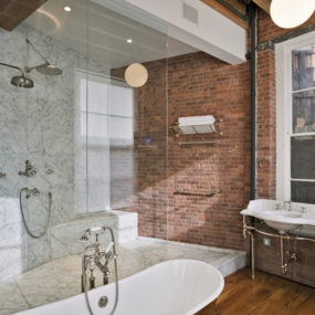 Red brick bathroom 285x285 14 Cool Brick Buildings and Design Ideas