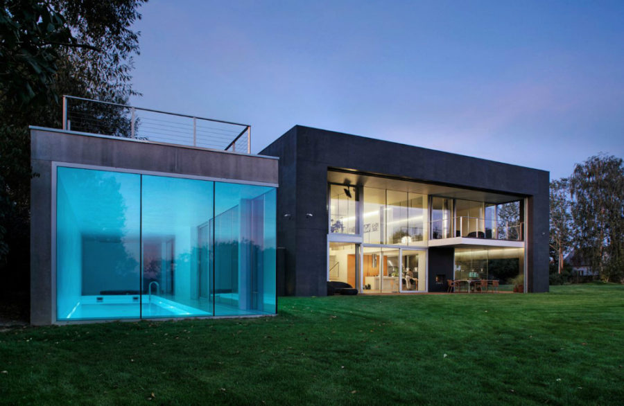 view in gallery safe house in poland with a glass indoor pool