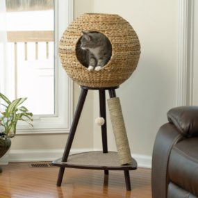 Sauder Natural Sphere Cat Tower 285x285 Designer Cat Beds for Most Capricious Felines