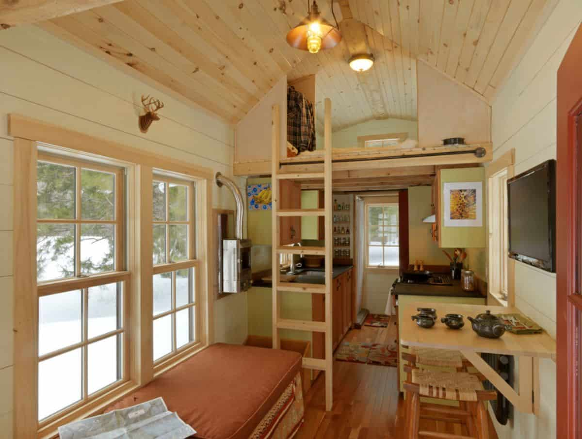 Small rustic interior design for a tiny house