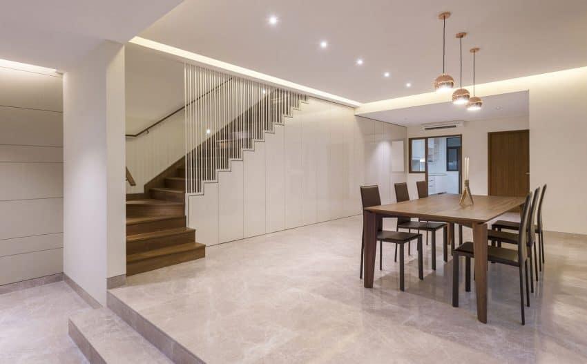 Spacious dining room is beautifully minimalist