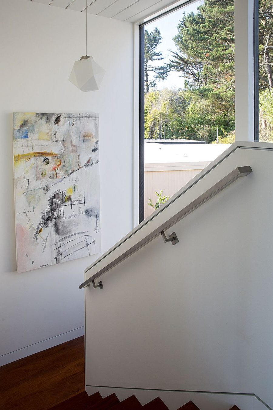 Staircase block overlooks the inner courtyard and features an artwork