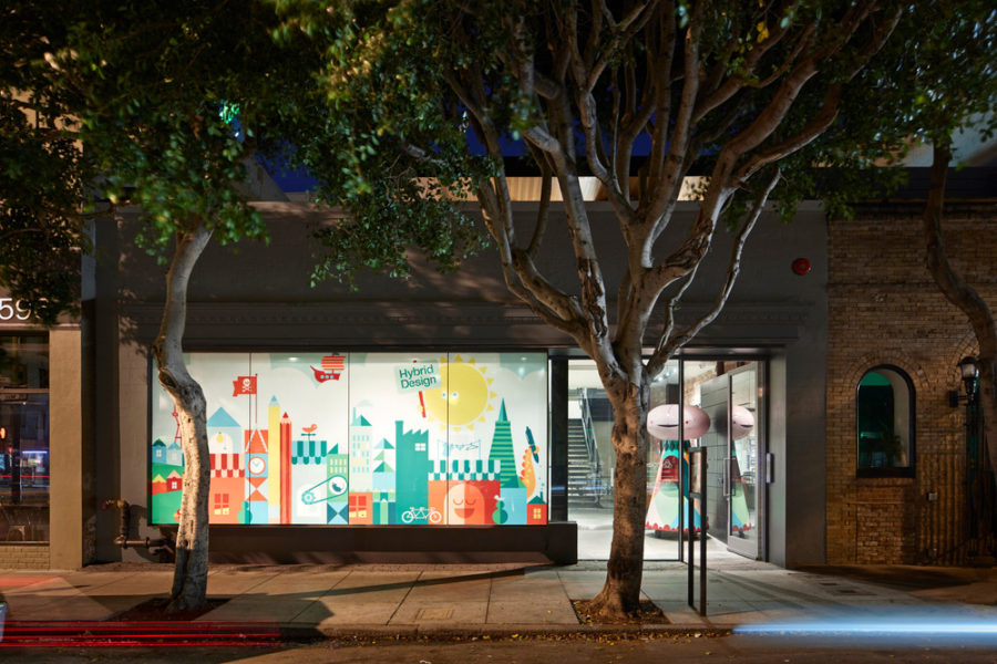 Street facing window is decorated with a colorful graphic design 900x600 Creative Office Design in San Francisco With A Frosted Window decal