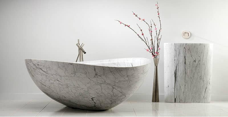 The Papillon Bathtub in Marble Sandstone and Granite by Stone Forest
