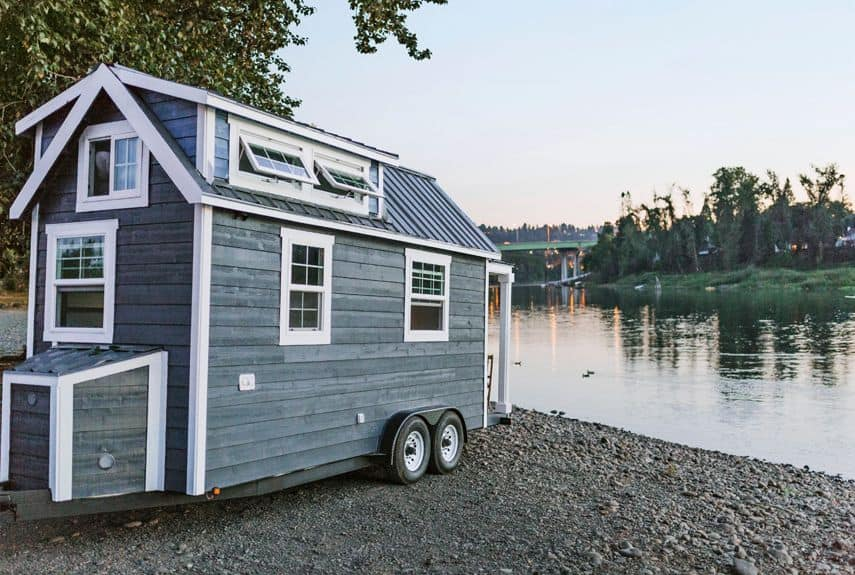 Tiny house on wheels on the lake