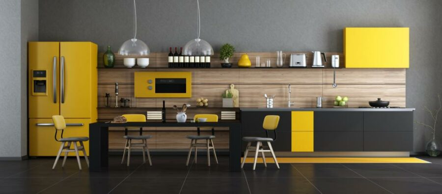 Two Tone Cabinets - Black and Yellow