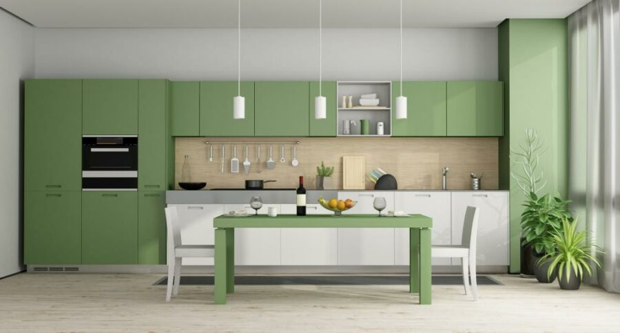 Two Tone Cabinets - Green Kitchen Cabinets