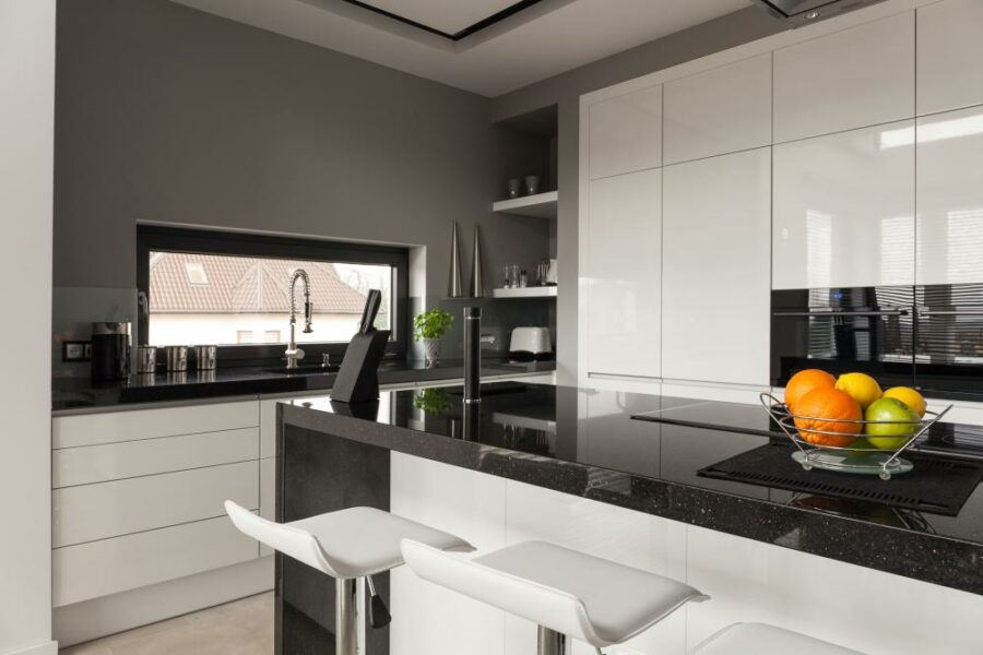 Two Tone Cabinets - White and Gray Kitchen Cabinets