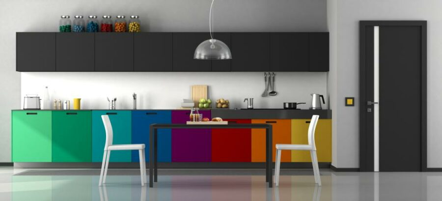 Two Tone kitchen Cabinets Rainbow 1 900x409 45 Two Tone Kitchen Cabinets   Kitchen Ideas for the Next Remodel
