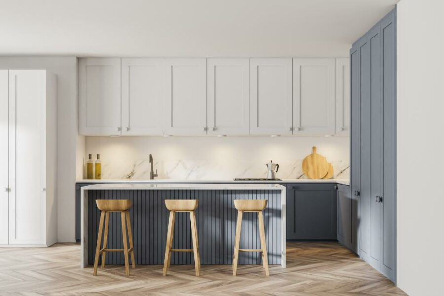 Black and Wood Two Tone Cabinets