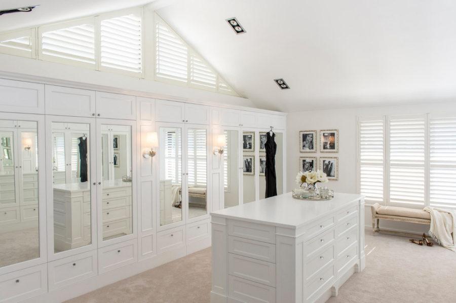 White mirrored closet