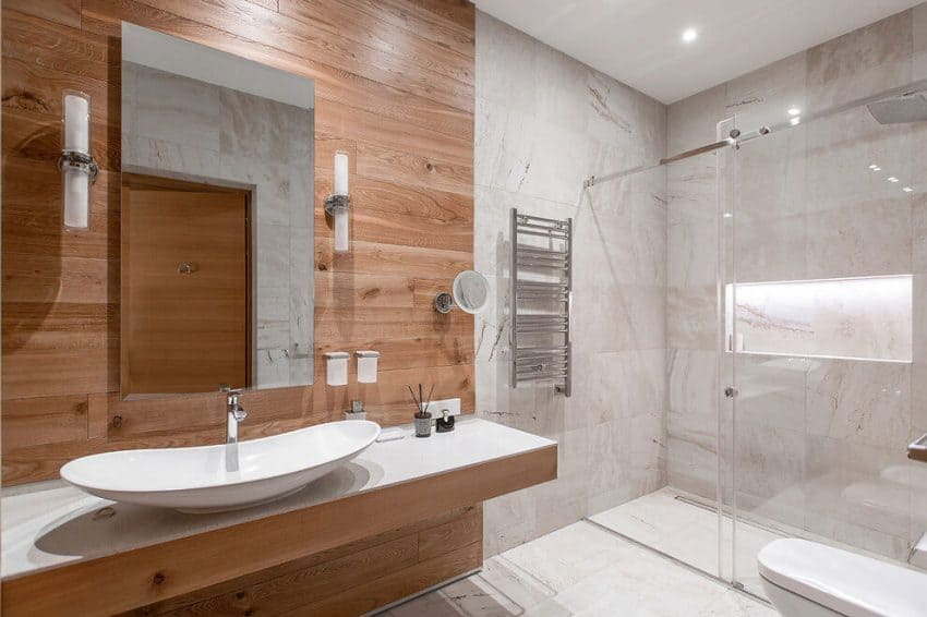 White, wood, and marble master bathroom