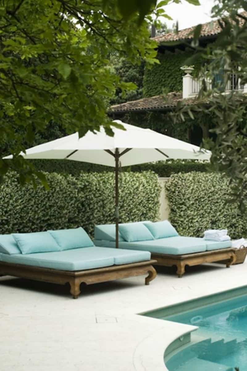 Wood lounge chairs for pool