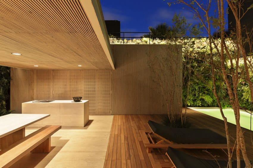 Wooden outdoor patio at night