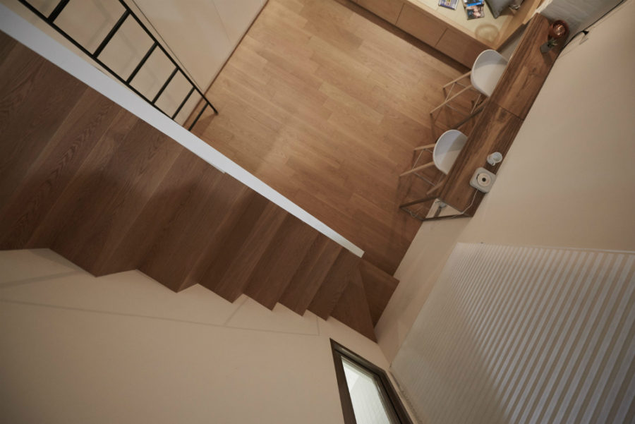 Wooden staircase designed with convenience in mind