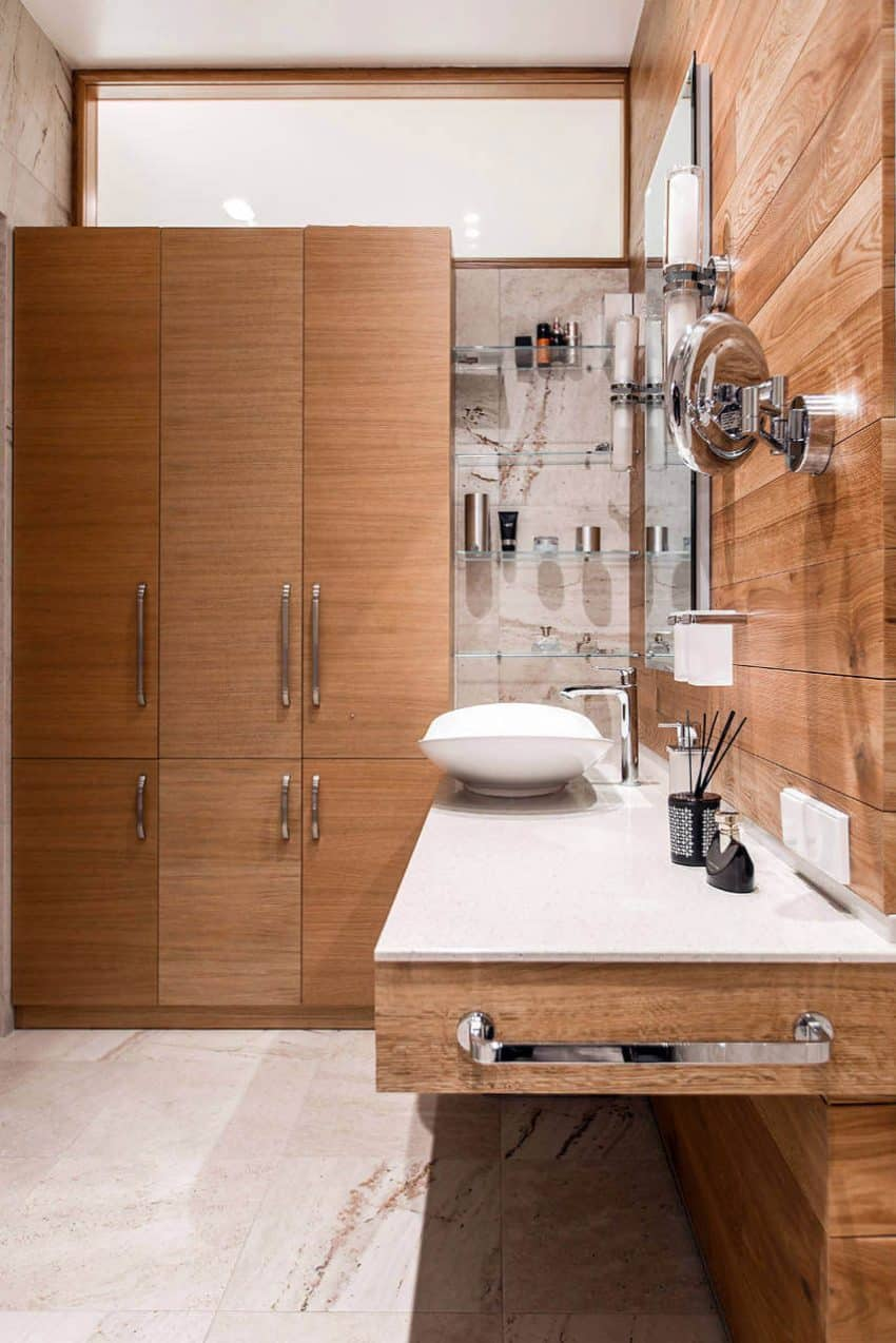 Wooden storage in master bathroom
