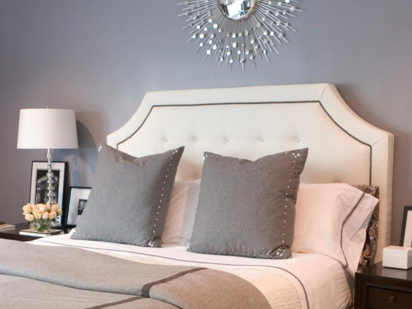 Headboard Decorating Ideas Part - 26: View In Gallery Awesome-grey-wall-paint-scheme-bedroom-ideas-featuring-