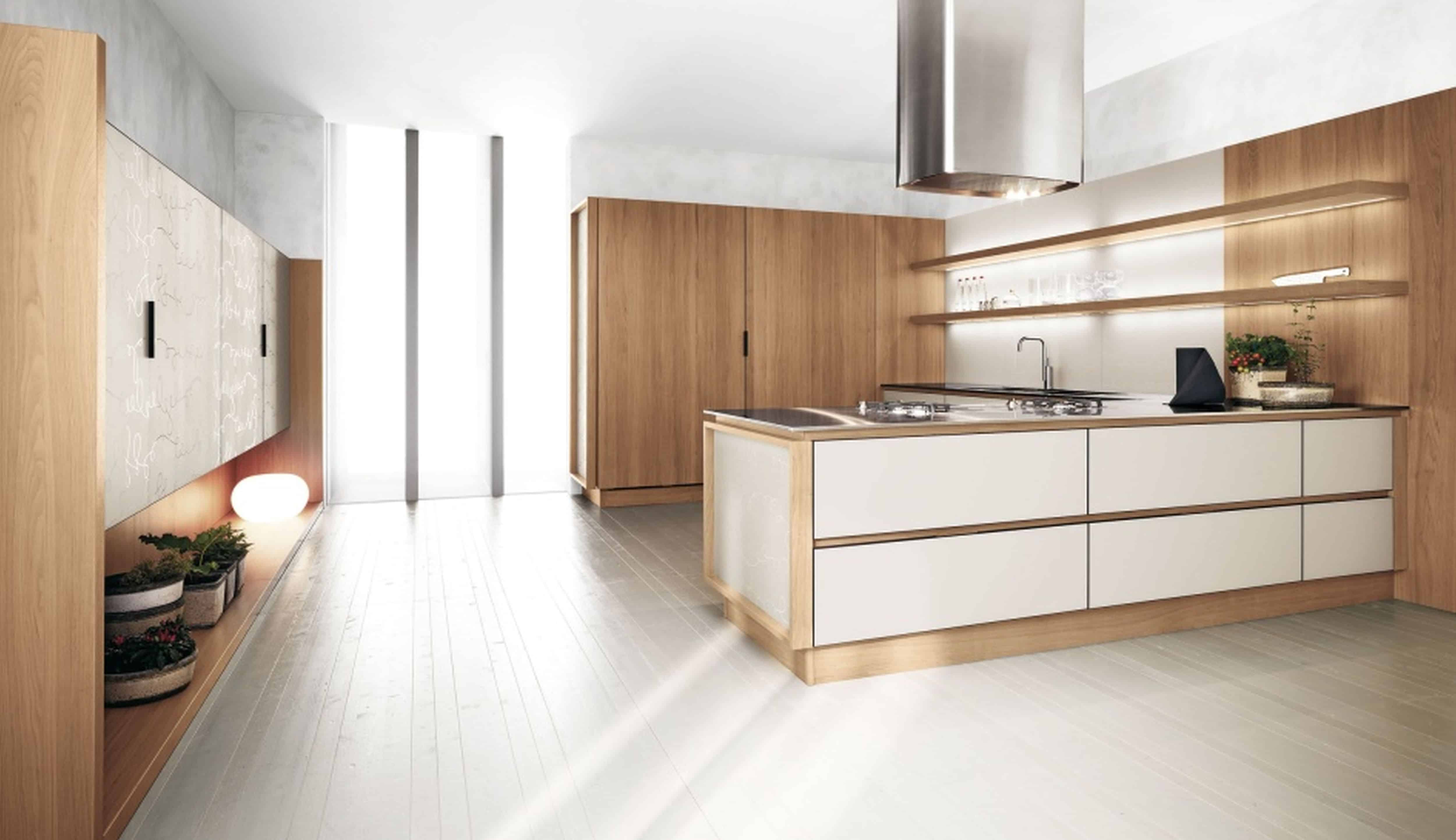 fabulous-white-and-walnut-two-tone-kitchen-cabinets-design-inspirations-equipped-appealing-maple-natural-wood-laminate-flooring-plus-range-hood-in-futuristic-style-with-kitchen-cabinets-refacing-and-i